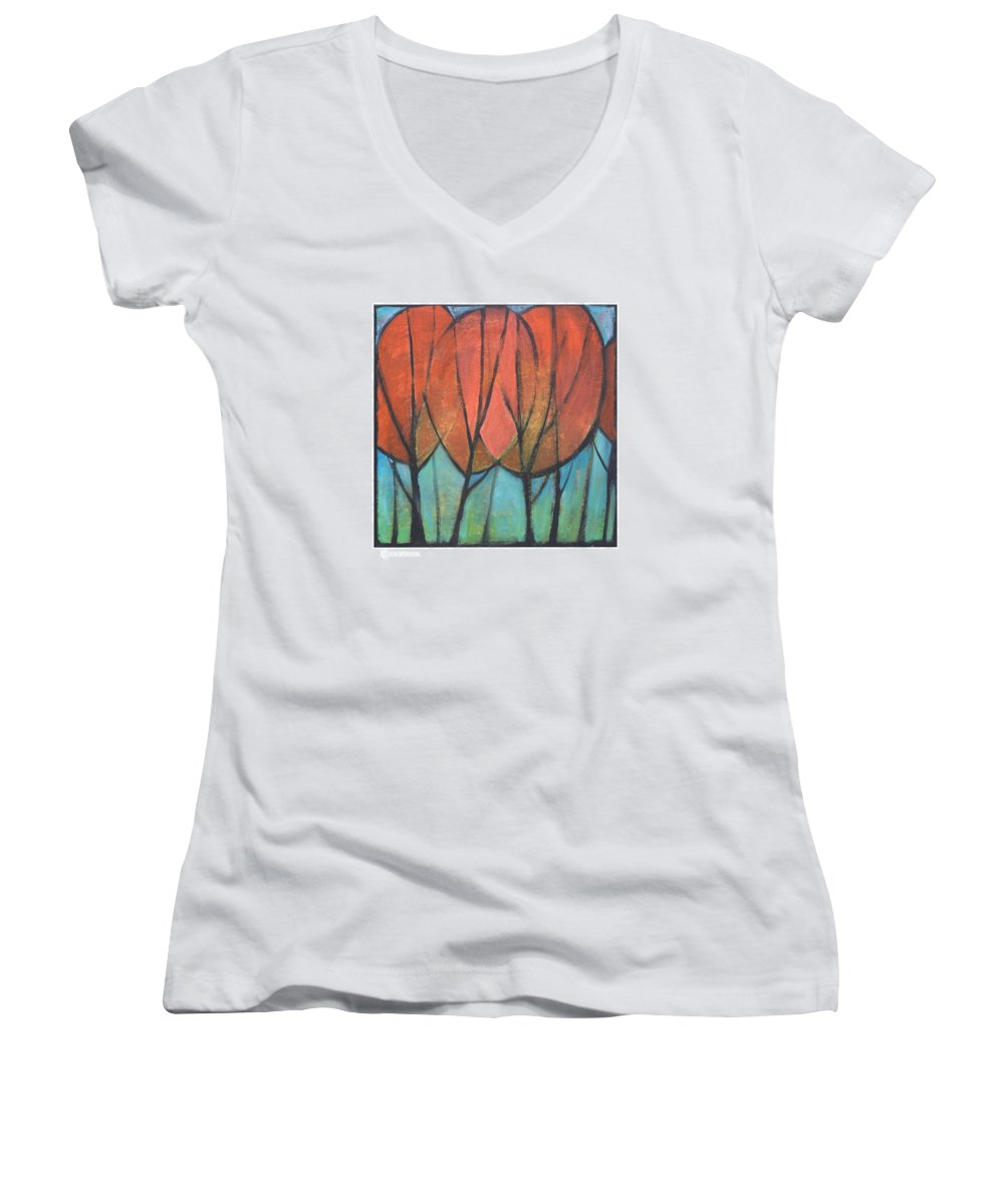 Trees Women's V-Neck (Athletic Fit) featuring the painting Cathedral by Tim Nyberg