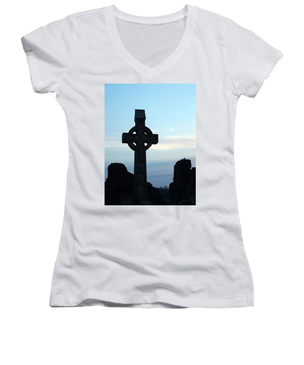 Irish Women's V-Neck (Athletic Fit) featuring the photograph Celtic Cross At Sunset Donegal Ireland by Teresa Mucha