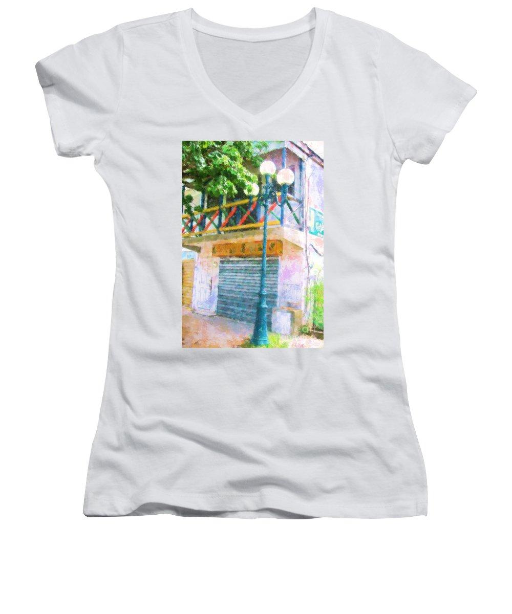 St. Martin Women's V-Neck T-Shirt featuring the photograph Cest La Vie by Debbi Granruth