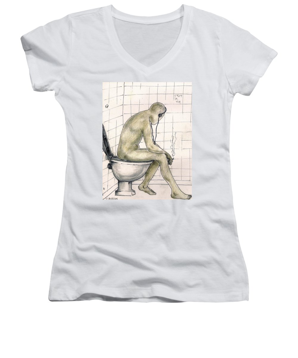 Life Naked Music Women's V-Neck T-Shirt featuring the drawing C'est La Vie by Veronica Jackson