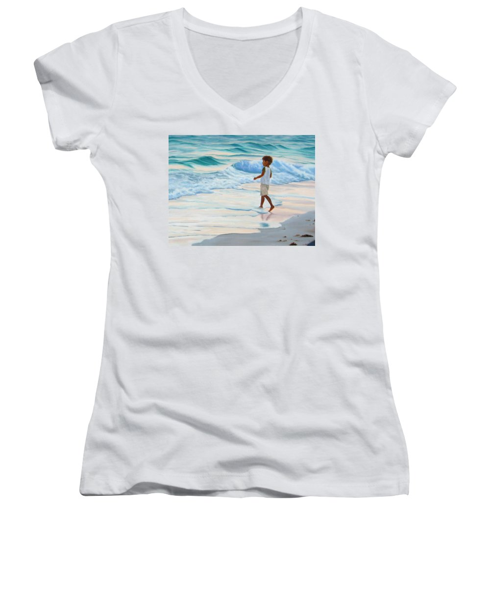 Child Women's V-Neck (Athletic Fit) featuring the painting Chasing The Waves by Lea Novak