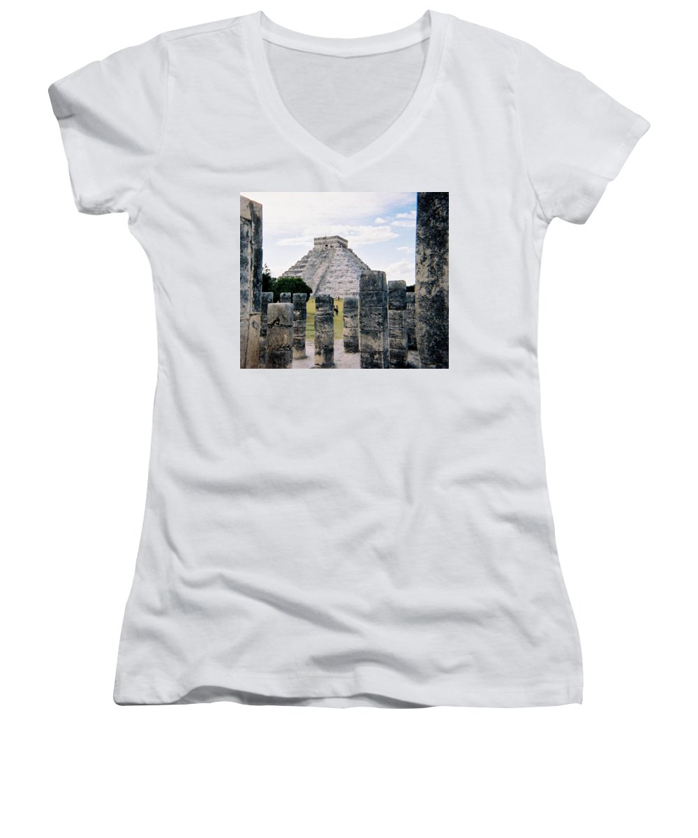 Chitchen Itza Women's V-Neck (Athletic Fit) featuring the photograph Chichen Itza 3 by Anita Burgermeister