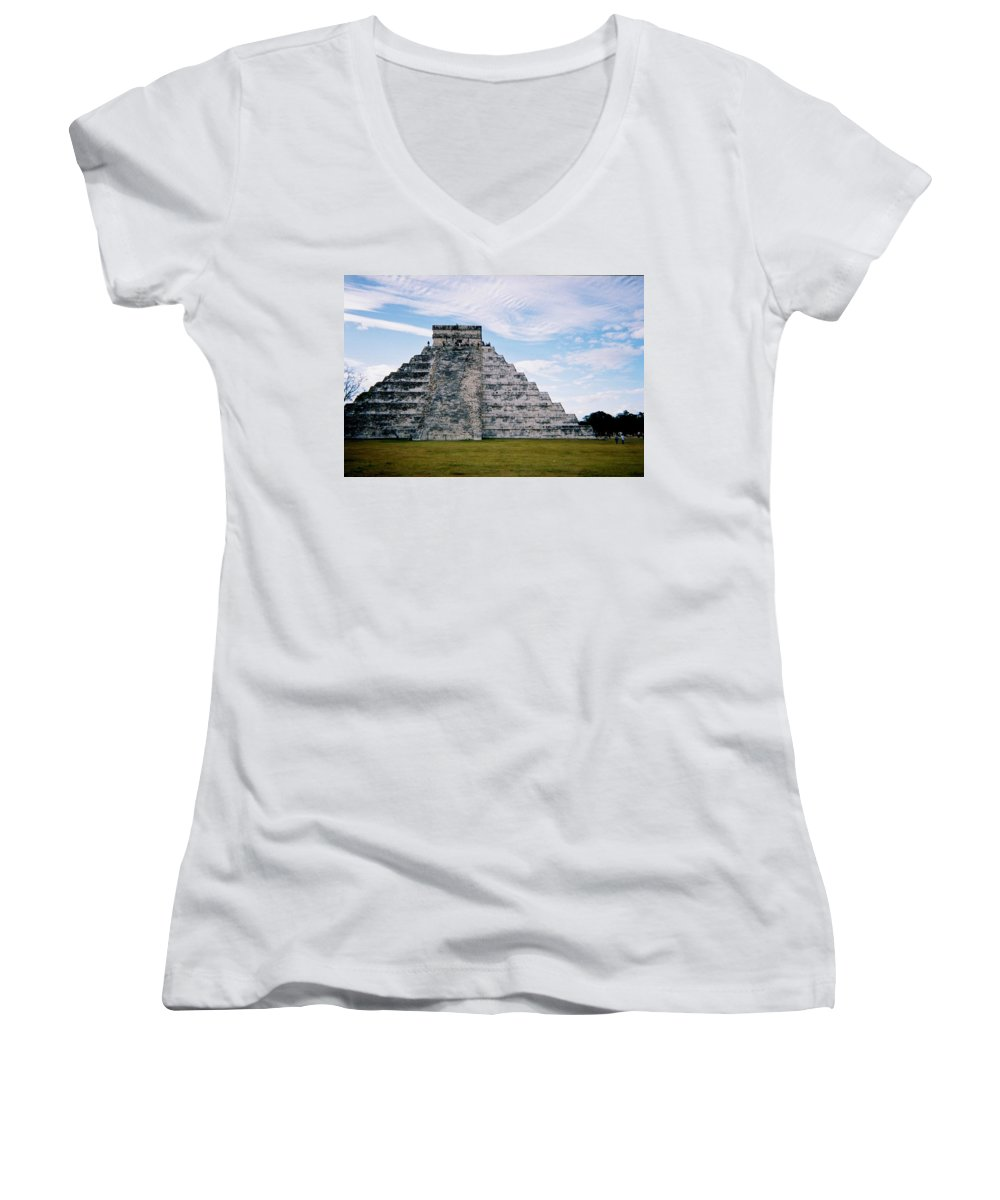 Chitchen Itza Women's V-Neck T-Shirt featuring the photograph Chichen Itza 4 by Anita Burgermeister