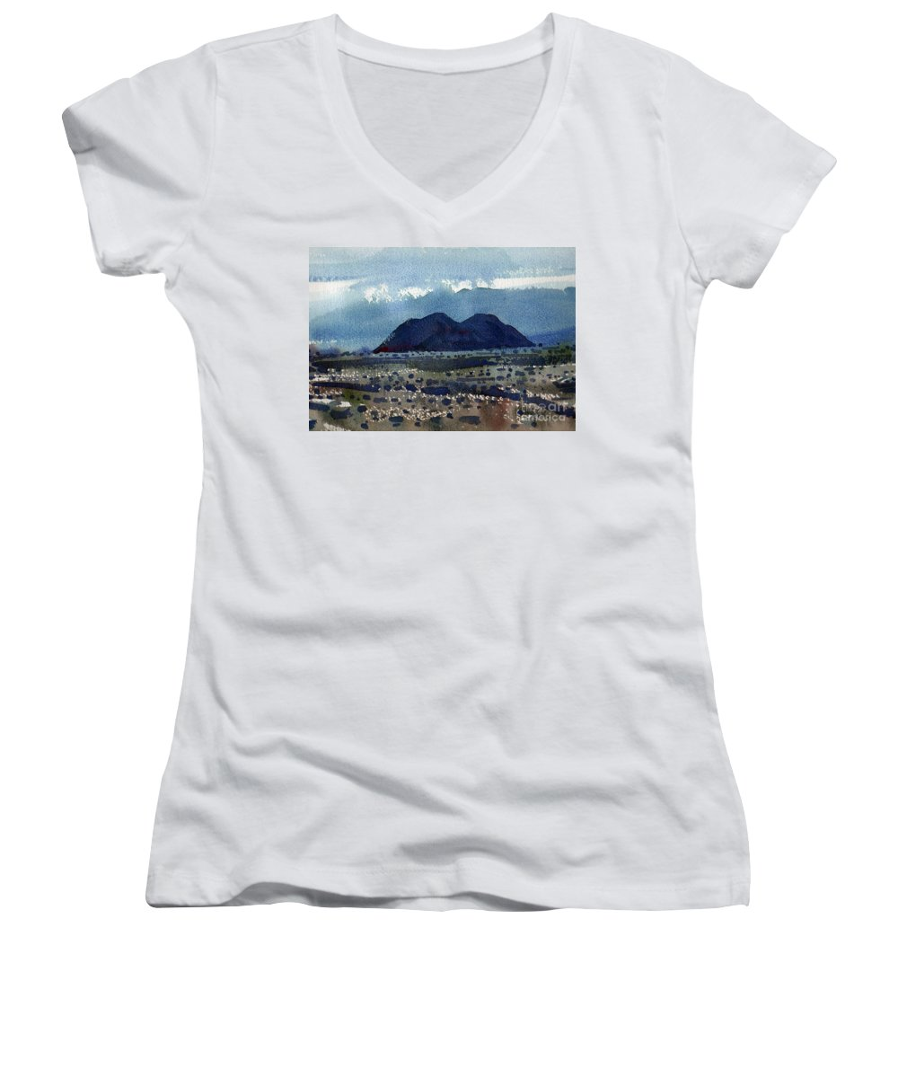 Cinder Cone Women's V-Neck T-Shirt featuring the painting Cinder Cone Death Valley by Donald Maier