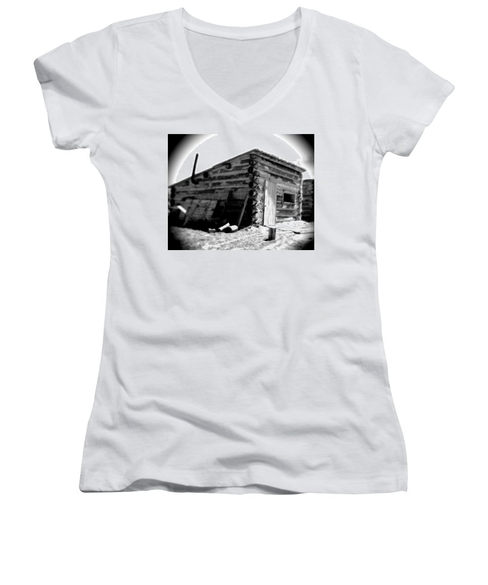 Army Women's V-Neck T-Shirt featuring the photograph Civil War Cabin 1 Army Heritage Education Center by Jean Macaluso