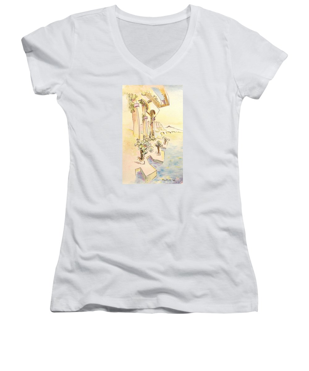 Italian Women's V-Neck T-Shirt featuring the painting Classic Summer Morning by Dave Martsolf