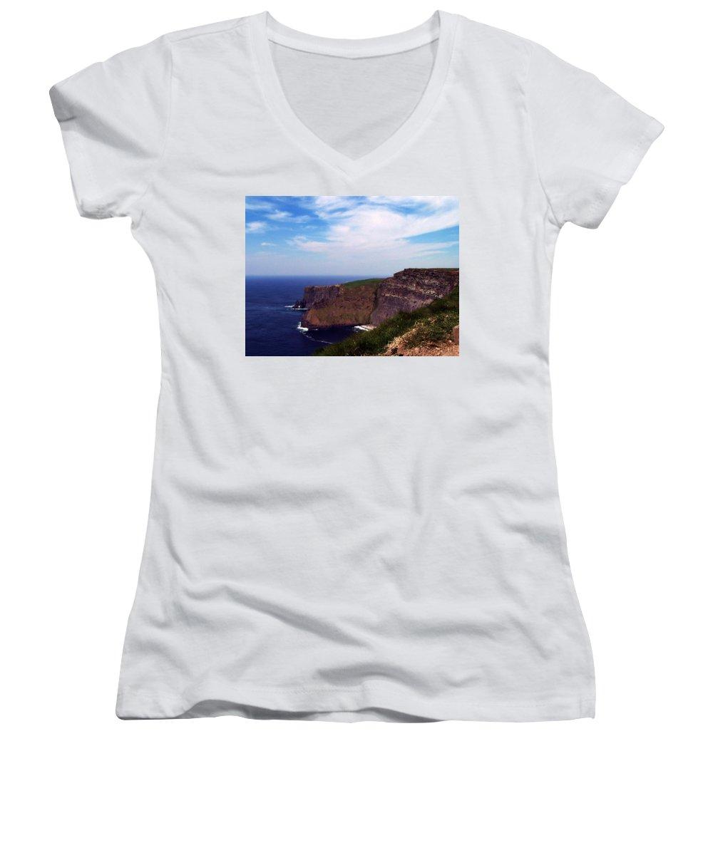 Irish Women's V-Neck T-Shirt featuring the photograph Cliffs Of Moher Aill Na Searrach Ireland by Teresa Mucha