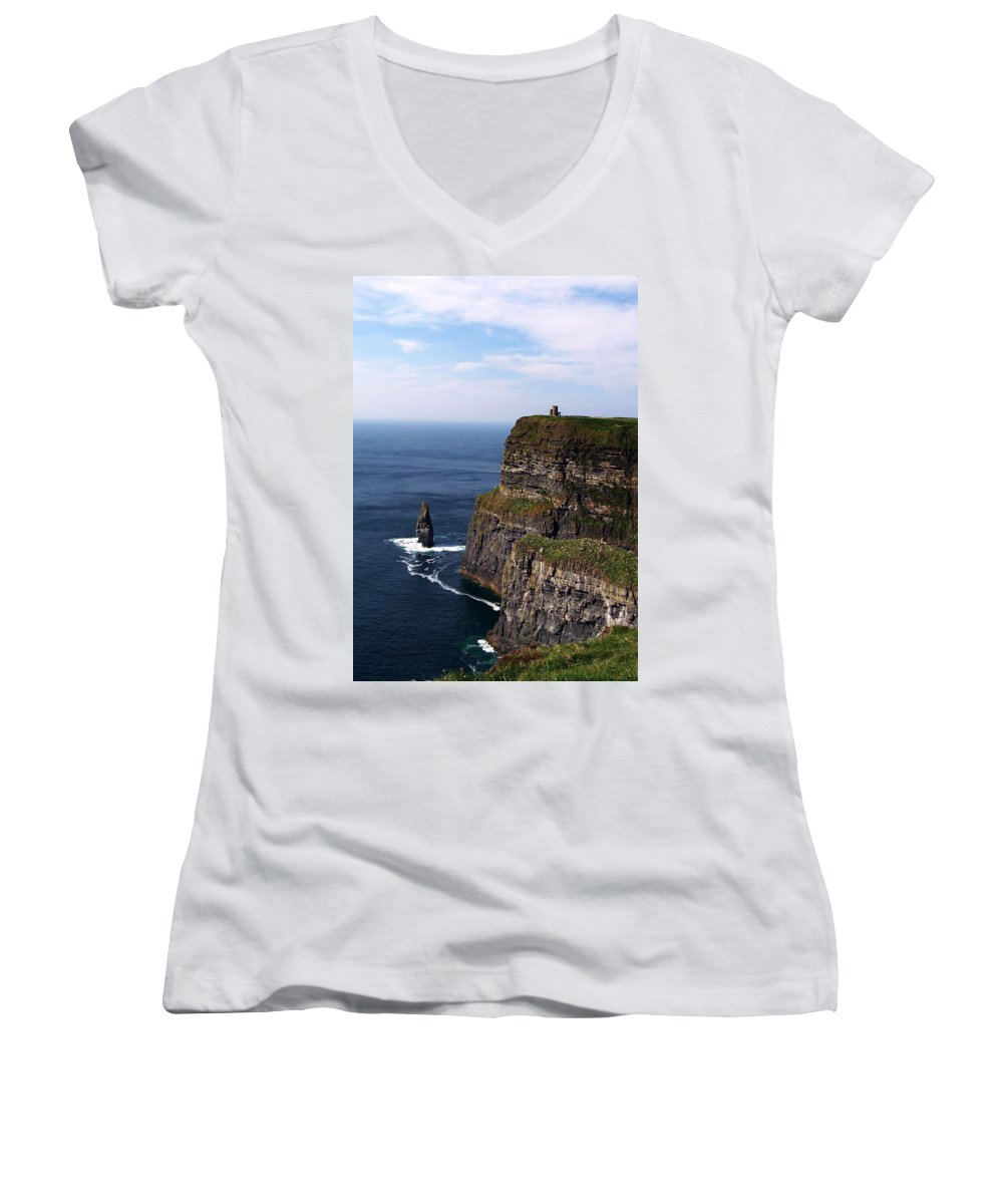 Irish Women's V-Neck T-Shirt featuring the photograph Cliffs Of Moher County Clare Ireland by Teresa Mucha