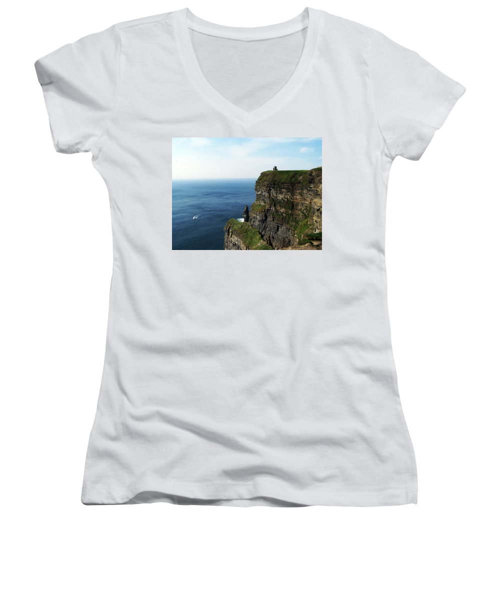 Irish Women's V-Neck (Athletic Fit) featuring the photograph Cliffs Of Moher Ireland by Teresa Mucha