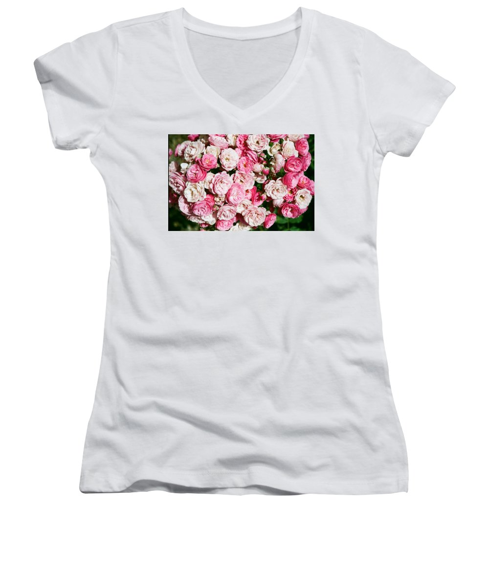 Rose Women's V-Neck T-Shirt featuring the photograph Cluster Of Roses by Dean Triolo