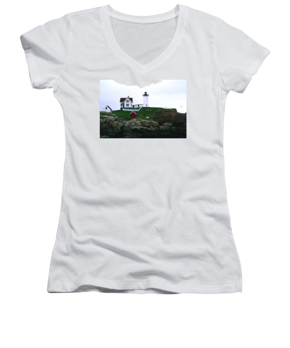Landscape Lighthouse Nautical New England Nubble Light Cape Neddick Women's V-Neck (Athletic Fit) featuring the photograph Cnrf0502 by Henry Butz