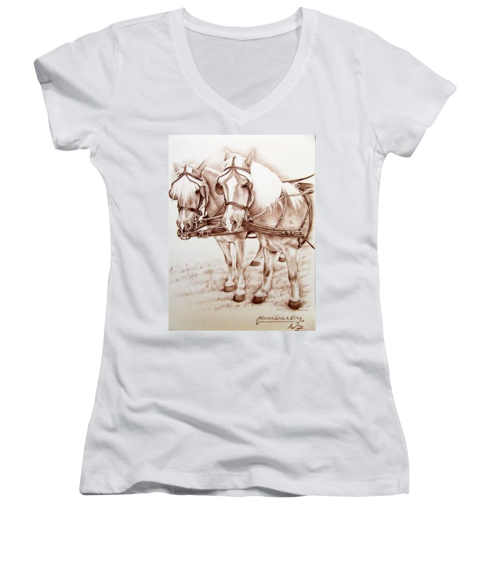 Horses Women's V-Neck T-Shirt featuring the drawing Coach Horses by Nicole Zeug