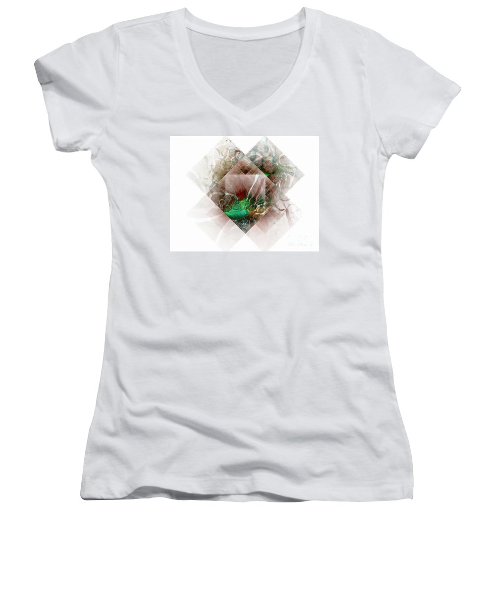 Digital Art Women's V-Neck T-Shirt featuring the digital art Coastal Memoirs by Amanda Moore