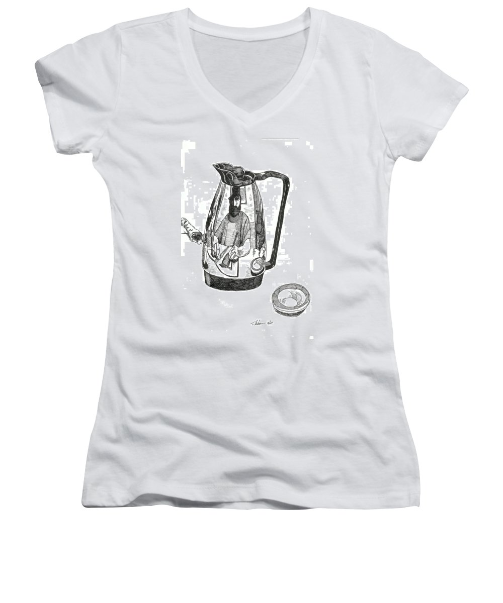 Pen And Ink Women's V-Neck T-Shirt featuring the drawing Coffee Pot by Tobey Anderson