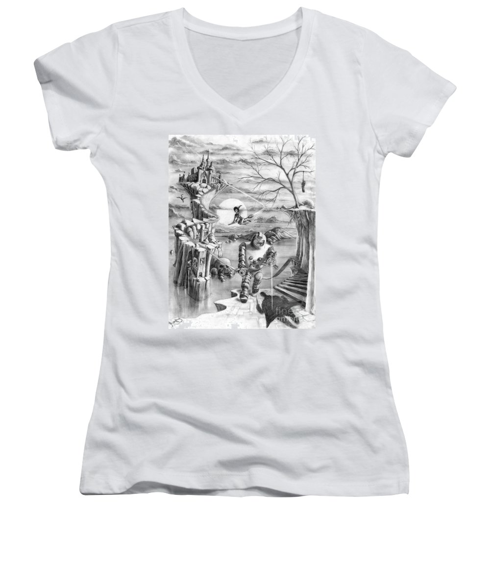 Witch Women's V-Neck T-Shirt featuring the drawing Comic Book Cover by Murphy Elliott