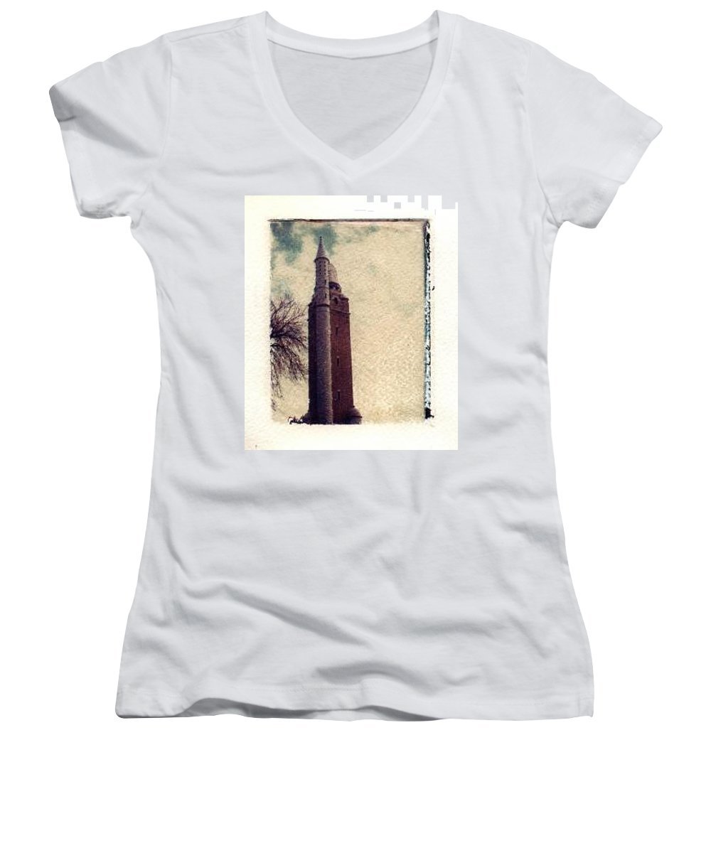 Polaroid Transfer Women's V-Neck (Athletic Fit) featuring the photograph Compton Water Tower by Jane Linders