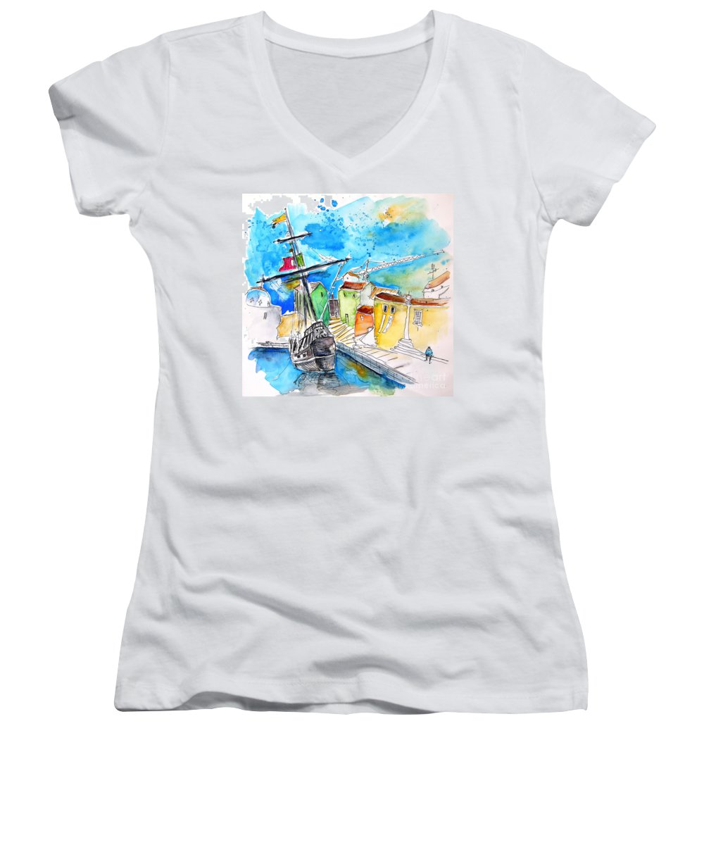 Portugal Women's V-Neck (Athletic Fit) featuring the painting Conquistador Boat In Portugal by Miki De Goodaboom