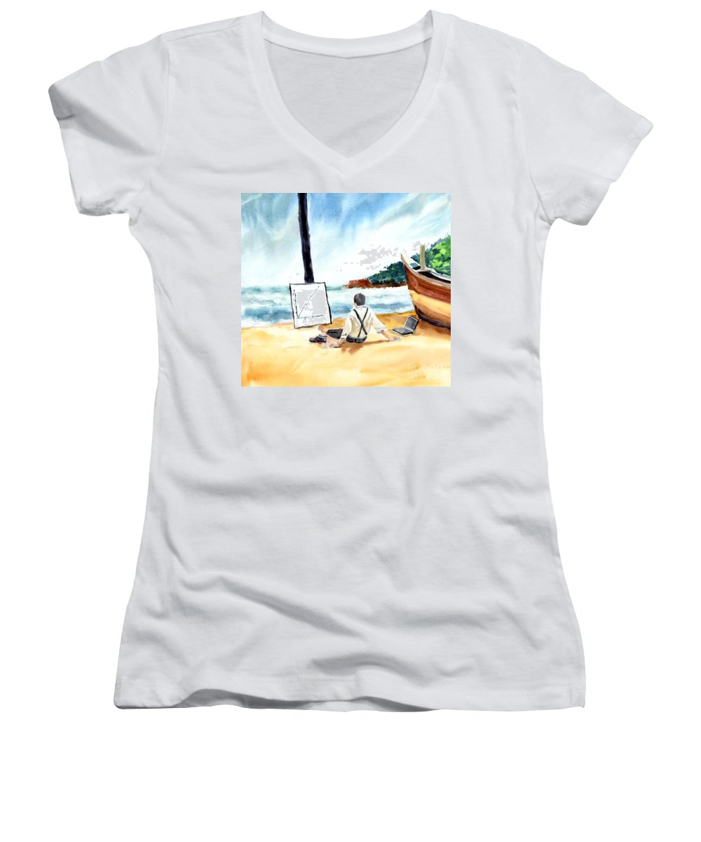 Landscape Women's V-Neck (Athletic Fit) featuring the painting Contemplation by Anil Nene