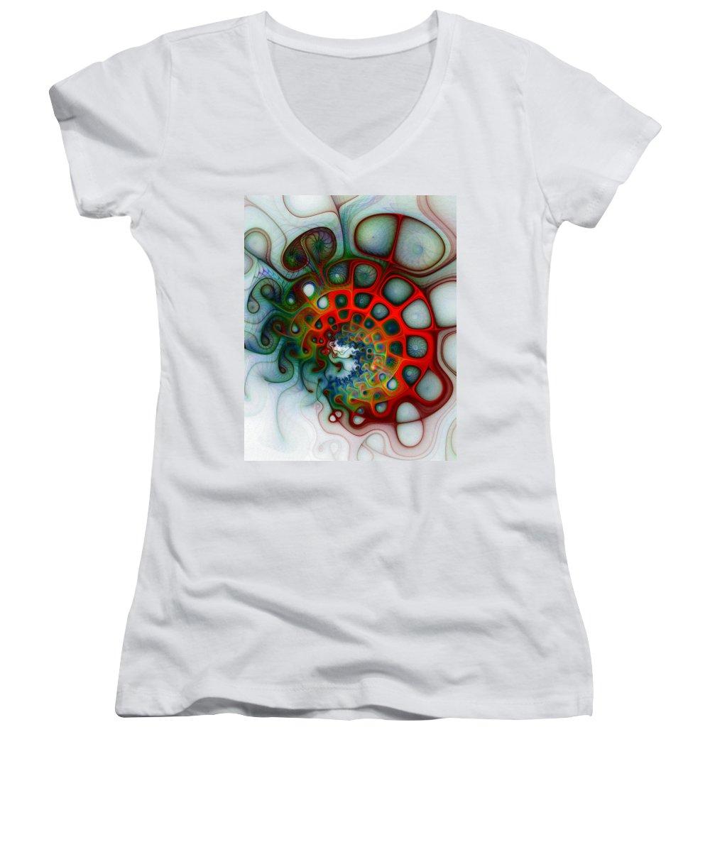 Digital Art Women's V-Neck T-Shirt featuring the digital art Convolutions by Amanda Moore