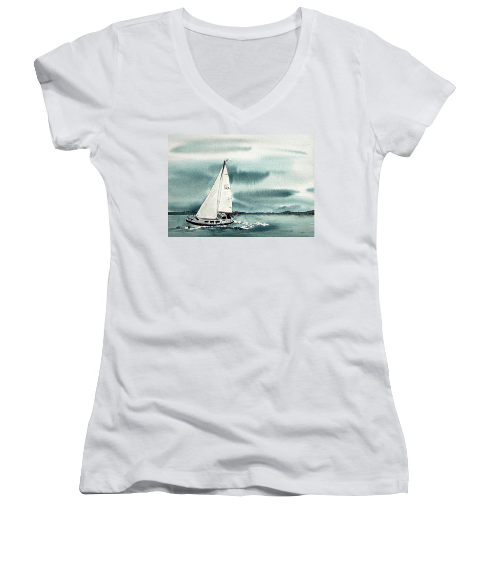 Sailing Women's V-Neck (Athletic Fit) featuring the painting Cool Sail by Gale Cochran-Smith