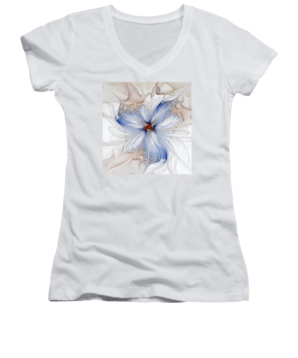 Digital Art Women's V-Neck (Athletic Fit) featuring the digital art Cornflower Blues by Amanda Moore