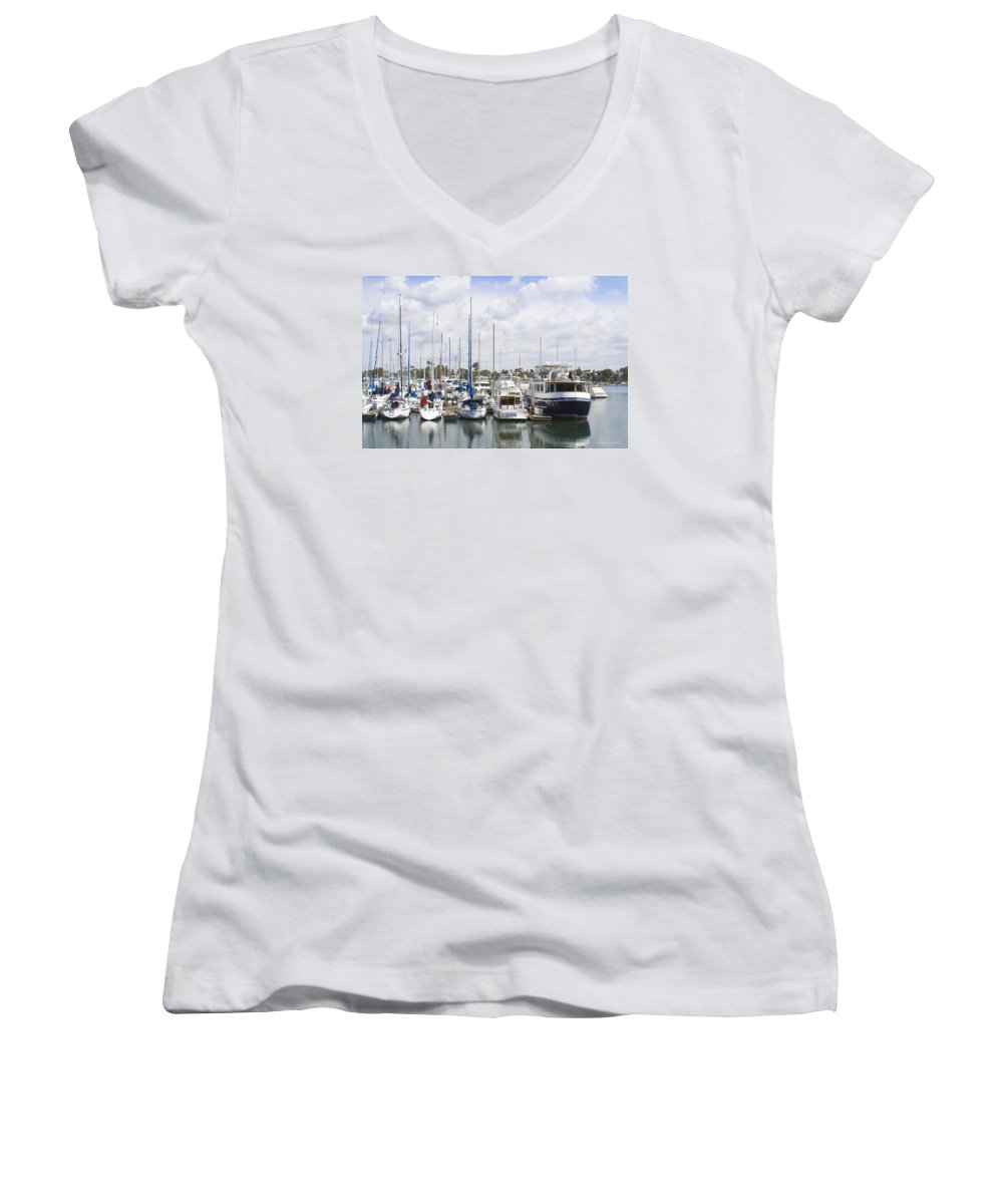 Coronado Women's V-Neck (Athletic Fit) featuring the photograph Coronado Boats II by Margie Wildblood