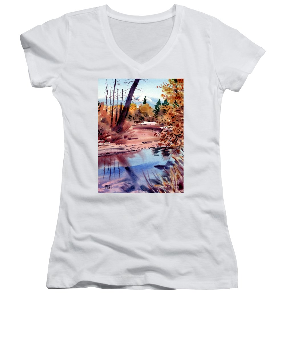 Cottonwood Trees Women's V-Neck T-Shirt featuring the painting Cottonwoods In October by Donald Maier