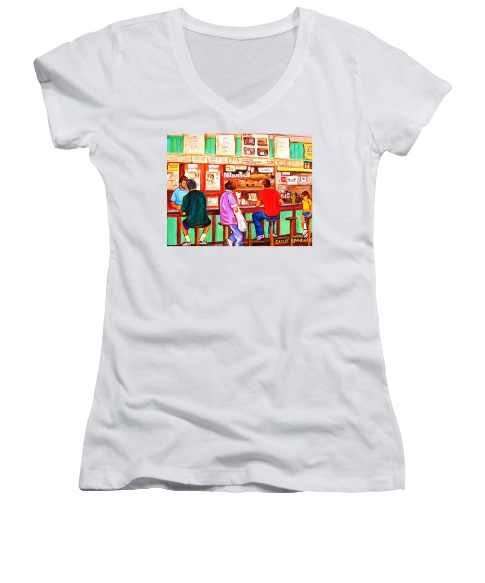 Montreal Women's V-Neck T-Shirt featuring the painting Counter Culture by Carole Spandau