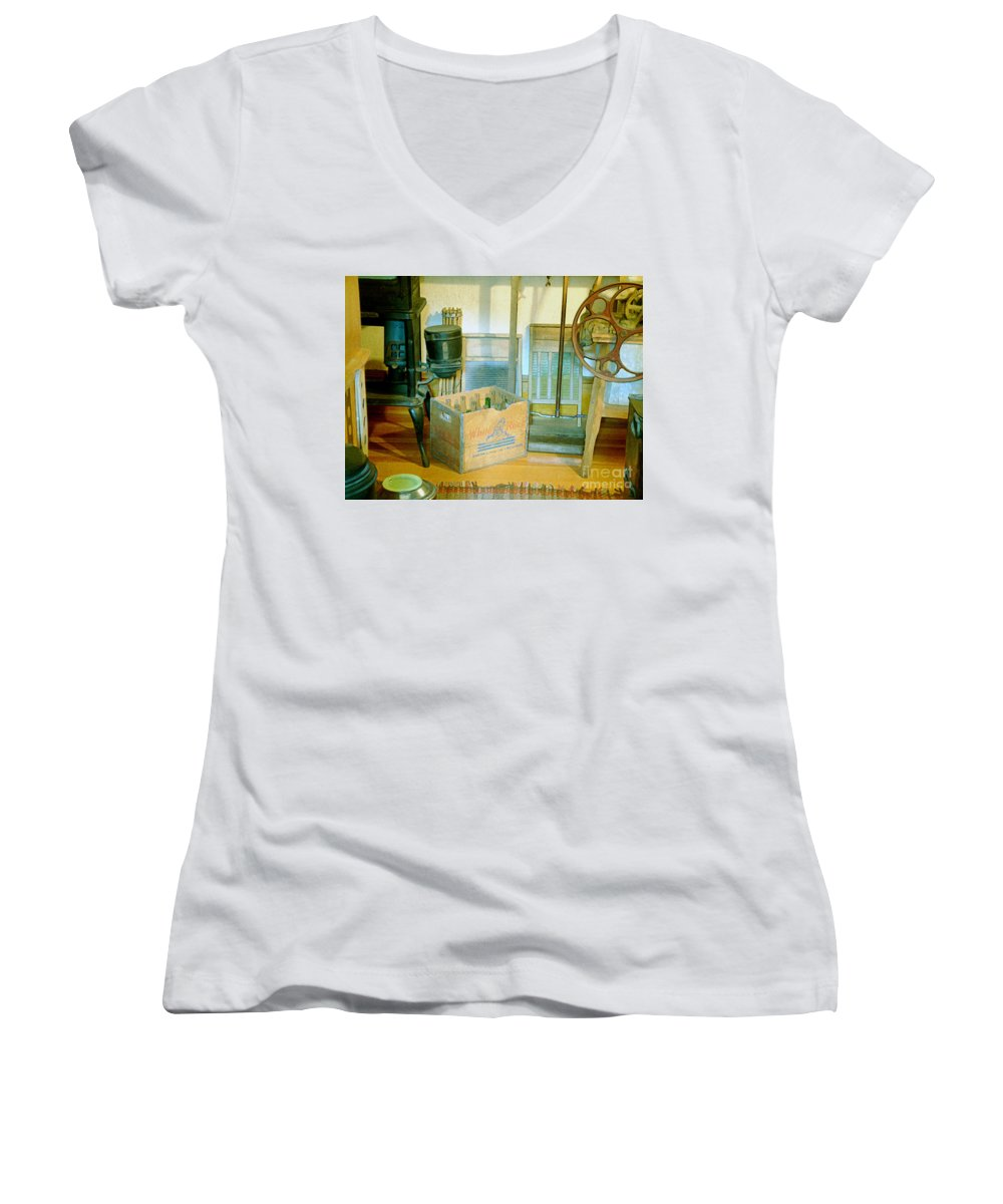 Kitchen Women's V-Neck T-Shirt featuring the painting Country Kitchen Sunshine II by RC deWinter