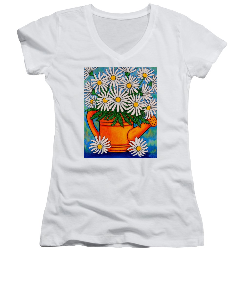 Daisies Women's V-Neck T-Shirt featuring the painting Crazy For Daisies by Lisa Lorenz