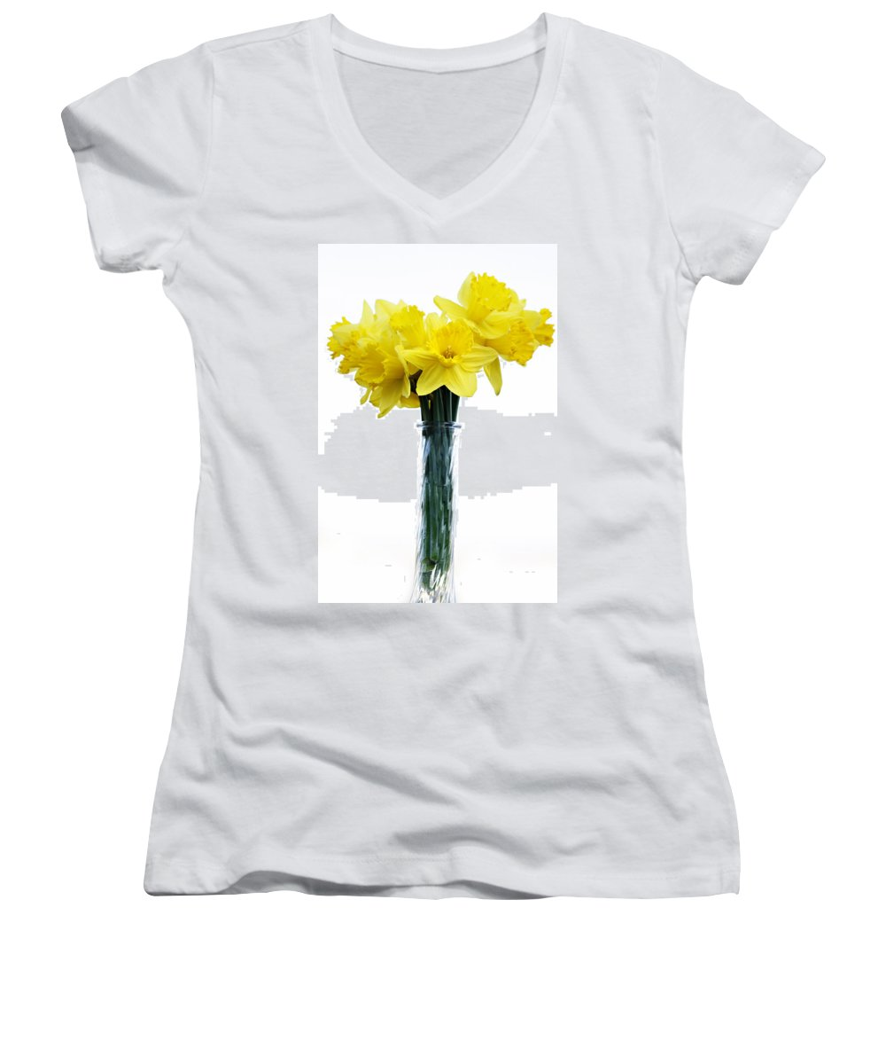Daffodil Women's V-Neck T-Shirt featuring the photograph Daffodil by Marilyn Hunt