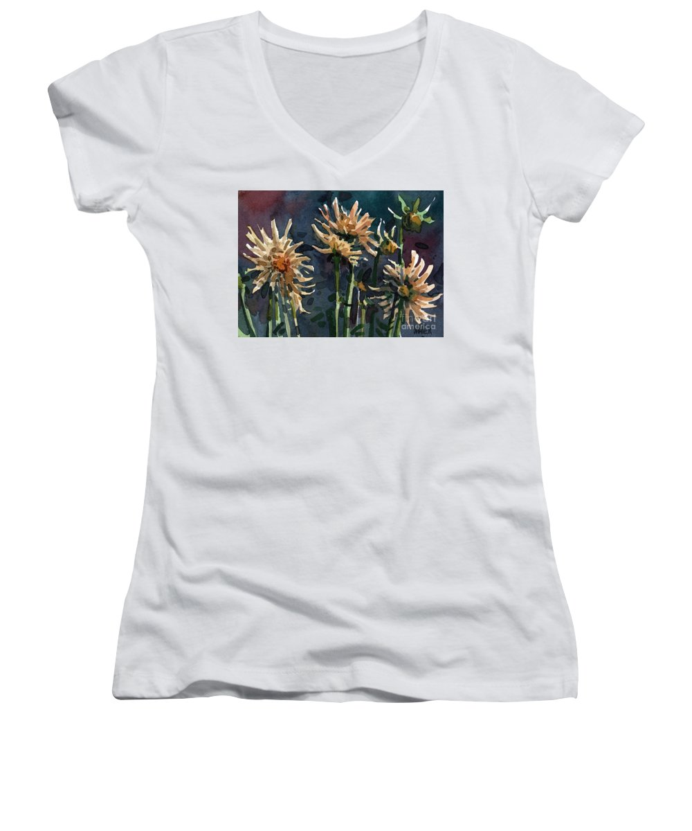 Floral Women's V-Neck T-Shirt featuring the painting Dahlias by Donald Maier
