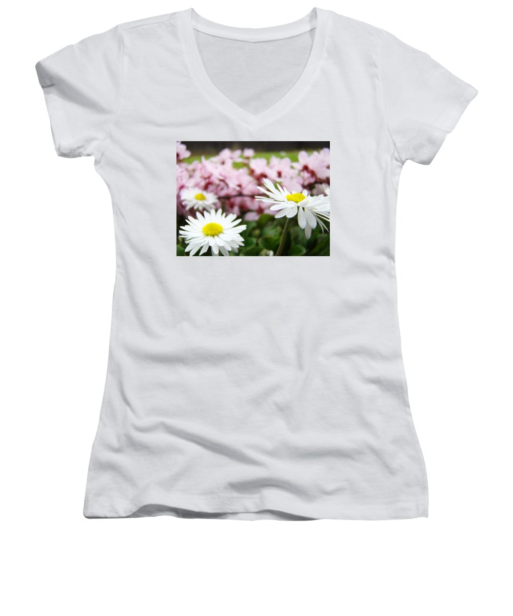 Daisies Women's V-Neck (Athletic Fit) featuring the photograph Daisies Flowers Art Prints Spring Flowers Artwork Garden Nature Art by Baslee Troutman