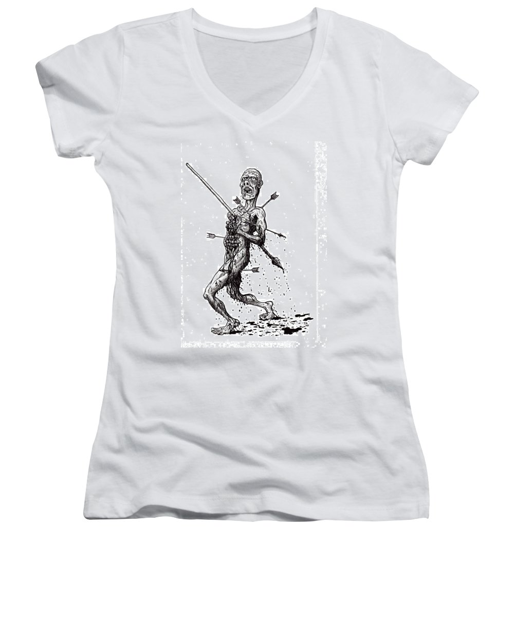 Dark Women's V-Neck T-Shirt featuring the drawing Death March by Tobey Anderson