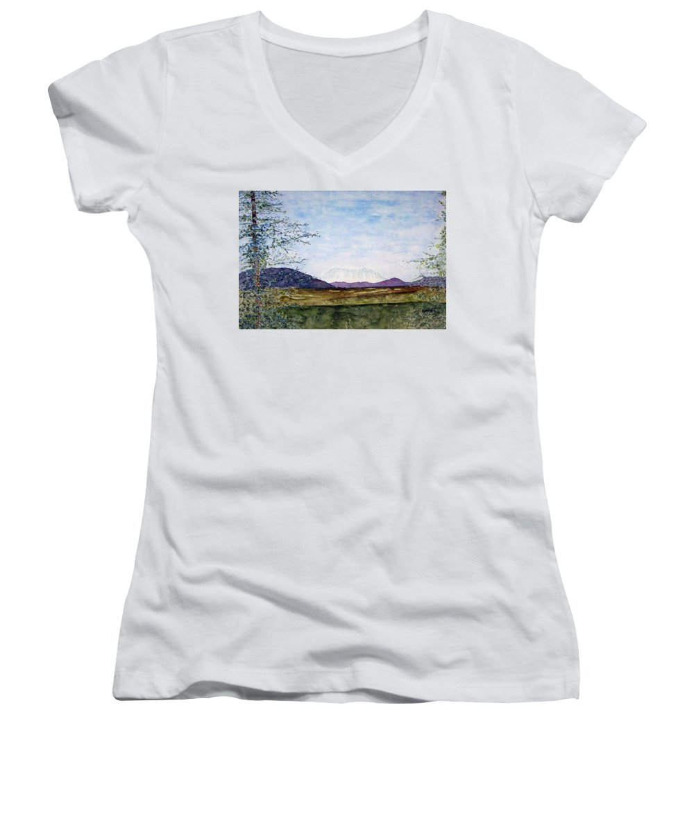 Alaska Art Women's V-Neck T-Shirt featuring the painting Denali In July by Larry Wright