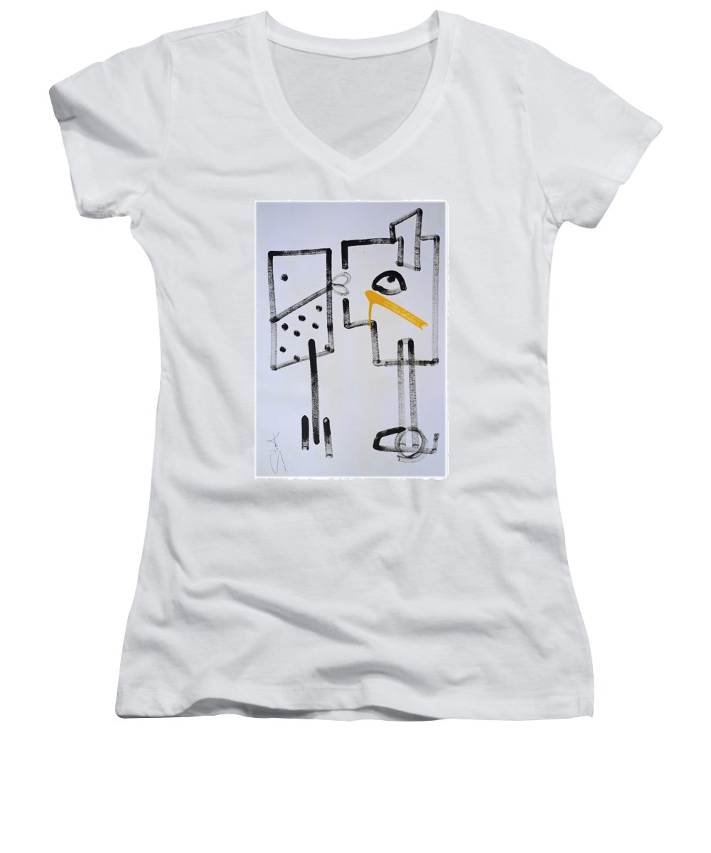 Drawing Women's V-Neck (Athletic Fit) featuring the painting Desperados Waiting For A Train by Charles Stuart