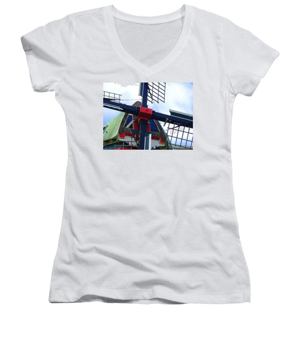 Dezwaan Women's V-Neck (Athletic Fit) featuring the photograph Dezwaan Windmill Holland Michigan by Michelle Calkins