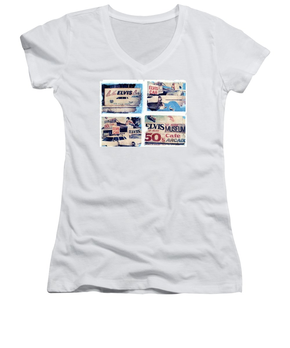 Elvis Women's V-Neck (Athletic Fit) featuring the photograph Disgraceland by Jane Linders