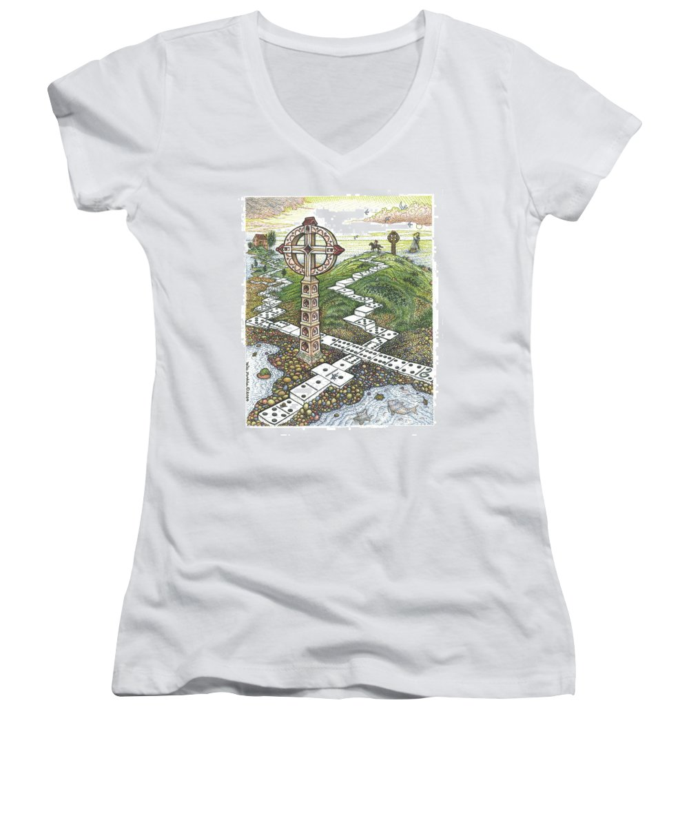 Landscape Women's V-Neck T-Shirt featuring the drawing Domino Crosses by Bill Perkins