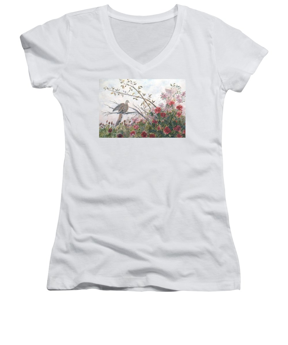 Dove; Roses Women's V-Neck T-Shirt featuring the painting Dove And Roses by Ben Kiger