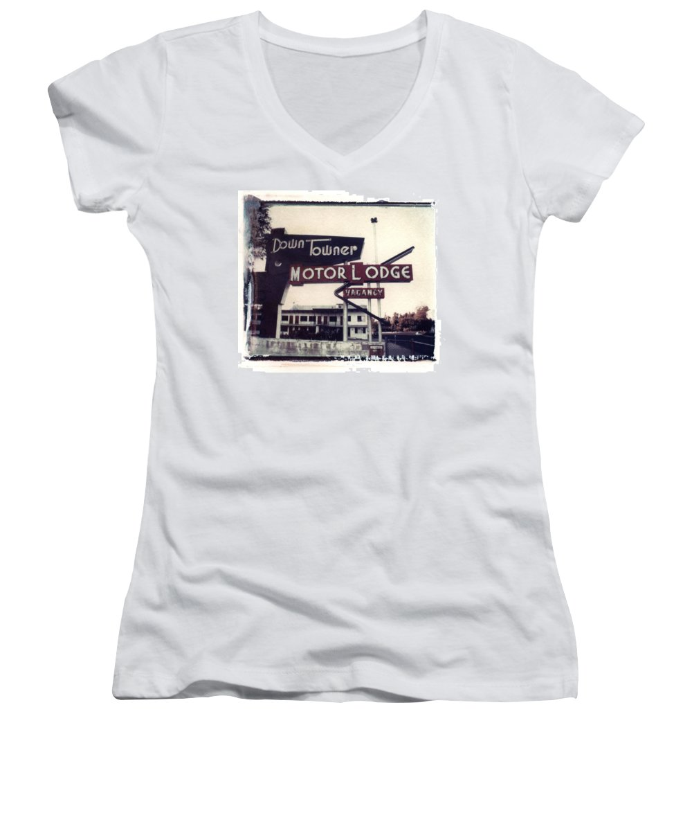 Landscape Women's V-Neck (Athletic Fit) featuring the photograph Down Towner by Jane Linders