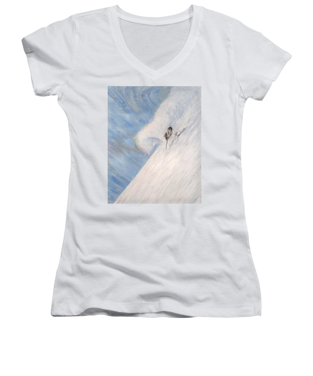 Landscape Women's V-Neck (Athletic Fit) featuring the painting Dreamsareal by Michael Cuozzo
