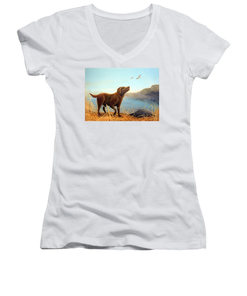Chocolate Lab Painting Women's V-Neck (Athletic Fit) featuring the Dutch by Rick Huotari