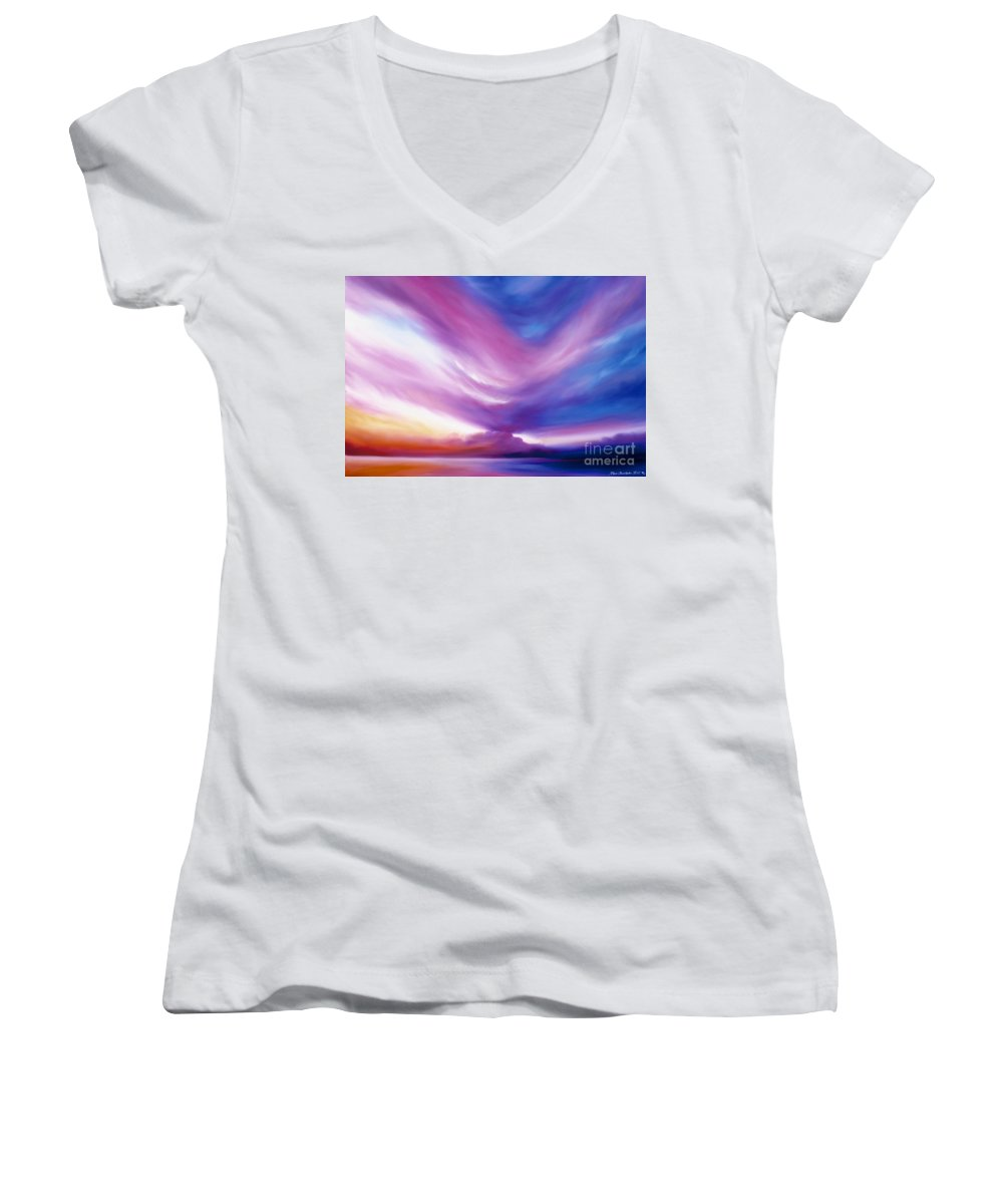 Clouds Women's V-Neck T-Shirt featuring the painting Ecstacy by James Christopher Hill