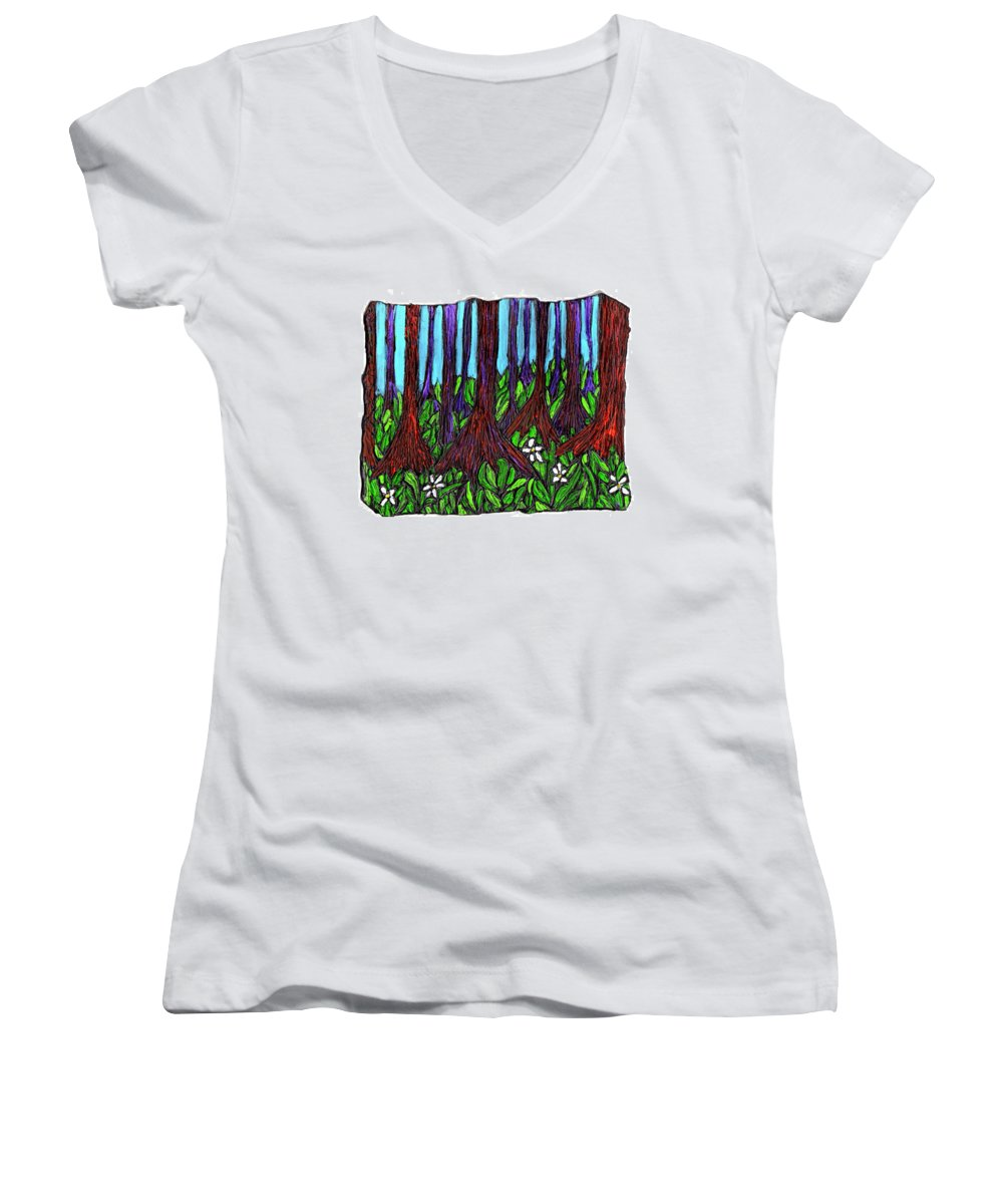 Trees Women's V-Neck T-Shirt featuring the painting Edge Of The Swamp by Wayne Potrafka