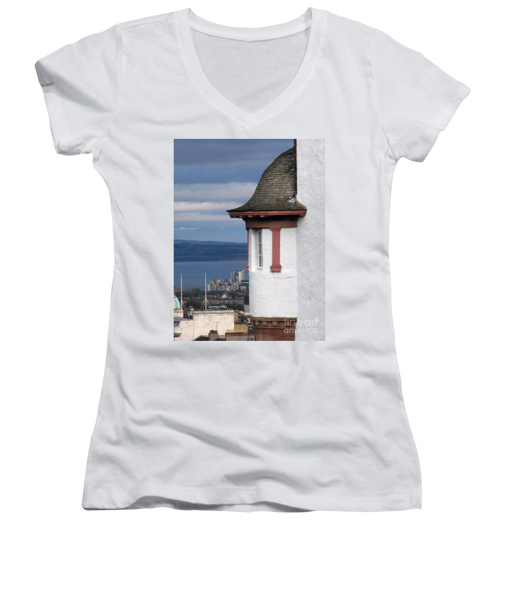 Scotland Women's V-Neck T-Shirt featuring the digital art Edinburgh Scotland by Amanda Barcon