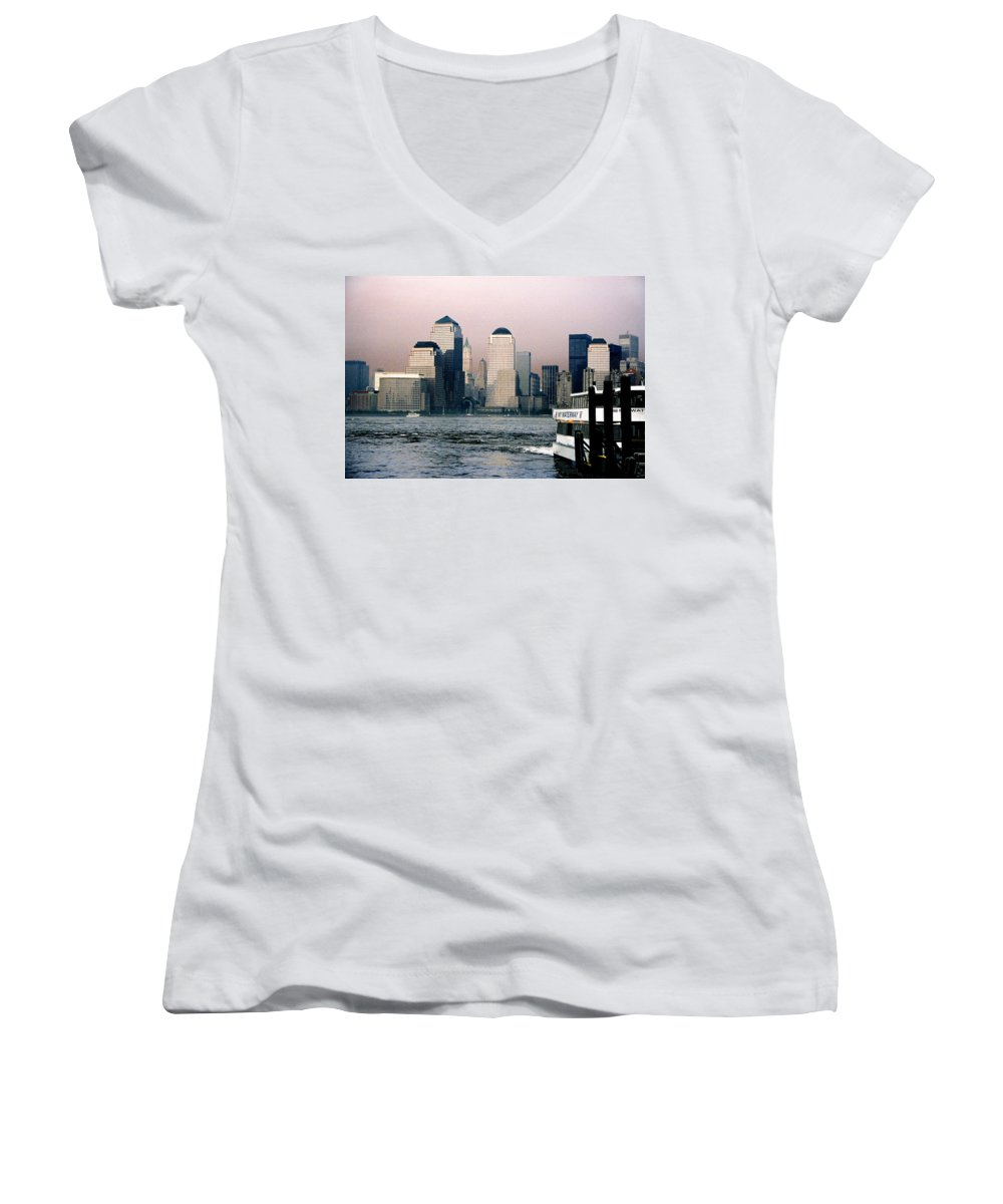 New York Women's V-Neck (Athletic Fit) featuring the photograph Empty Sky by Steve Karol