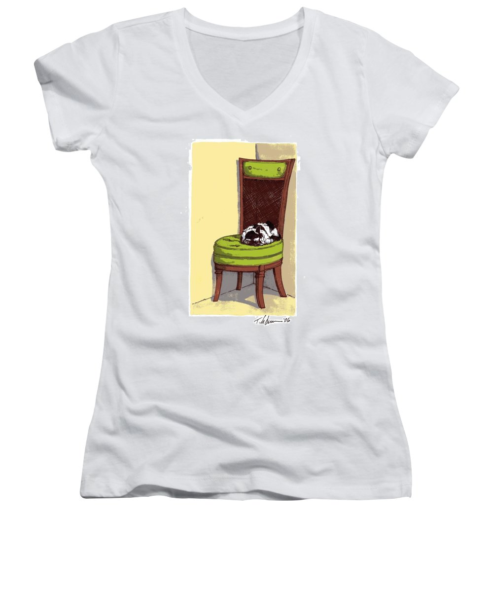 Cat Women's V-Neck (Athletic Fit) featuring the drawing Ernie And Green Chair by Tobey Anderson