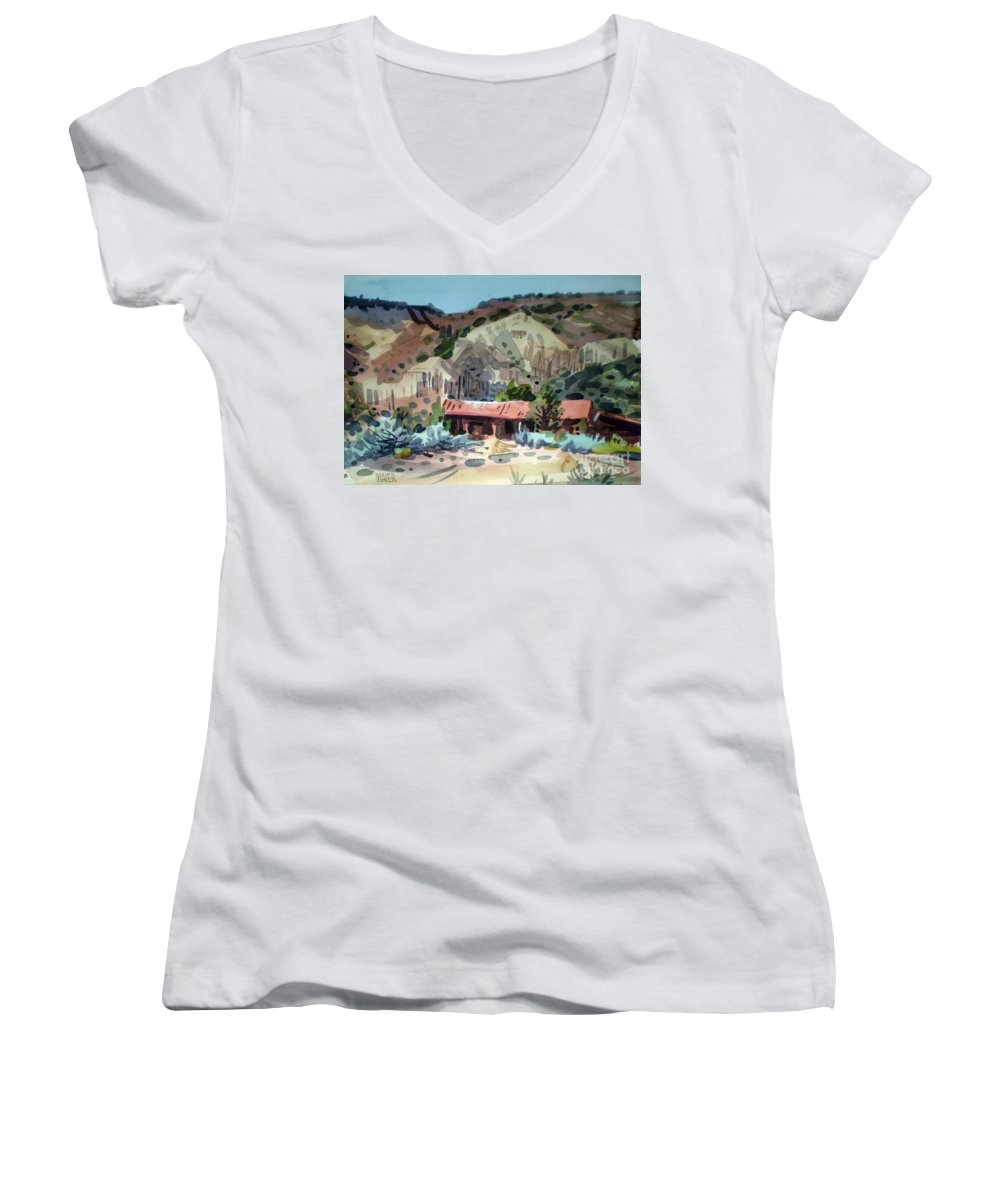 New Mexico Women's V-Neck T-Shirt featuring the painting Espanola On The Rio Grande by Donald Maier