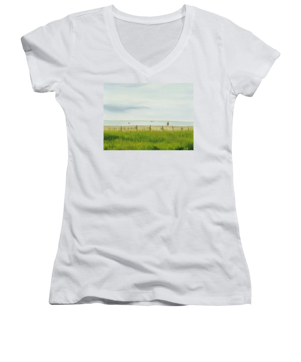 Seascape Women's V-Neck T-Shirt featuring the painting Evening At Cape May by Lea Novak